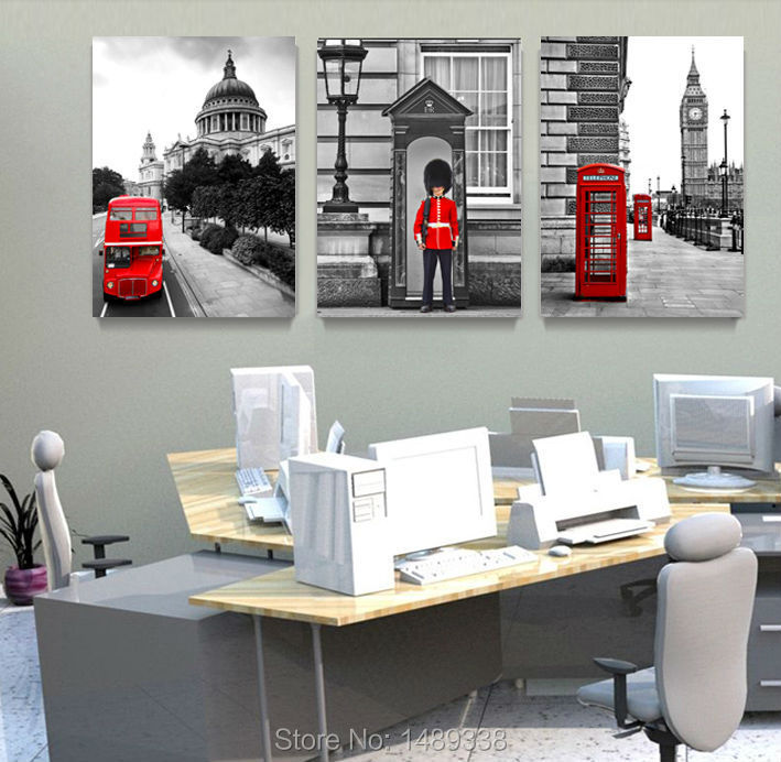 3 Piece Hot Sell Modern Soldiers stand guard Painting London Telephone Booth Home Decorative Art Picture Paint on Canvas T/725(China (Mainland))