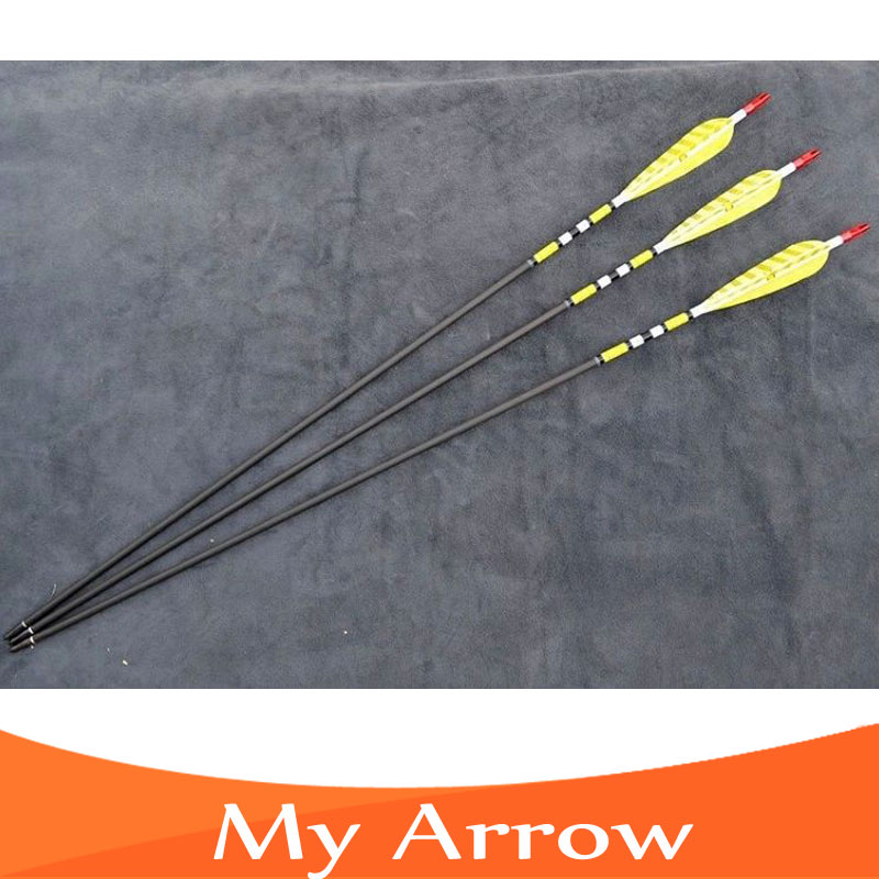 6pcs pack 30 Length Handmade Turkey Feather Iron Arrowhead Carbon Arrow Hunting Archery Arrows For Recurve