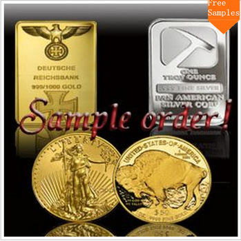 Free sample,cost only$7.99shipping.For4pcs sample,gold or silver plated coin or bar,style by rondom.Only for first shopping here