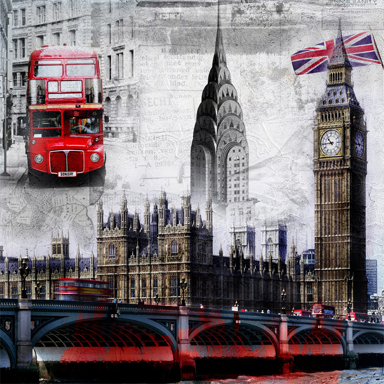 Free shipping european retro large mural wallpaper london for Black and white london mural wallpaper