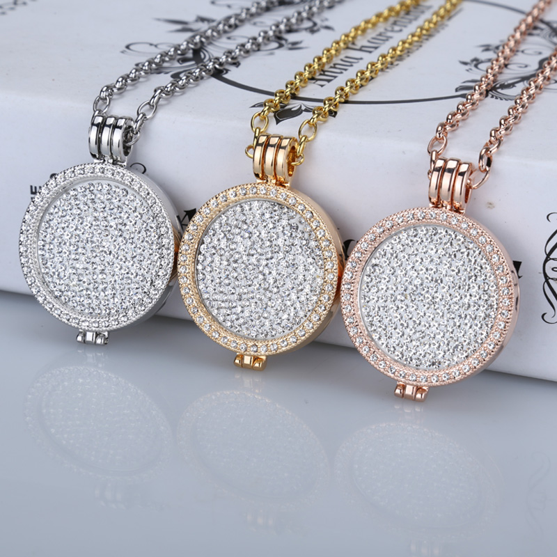 New 35mm coin holder necklace pendant fit my 33mm coins white crystal Christmas woman gift decorative fashion jewelry locket(China (Mainland))