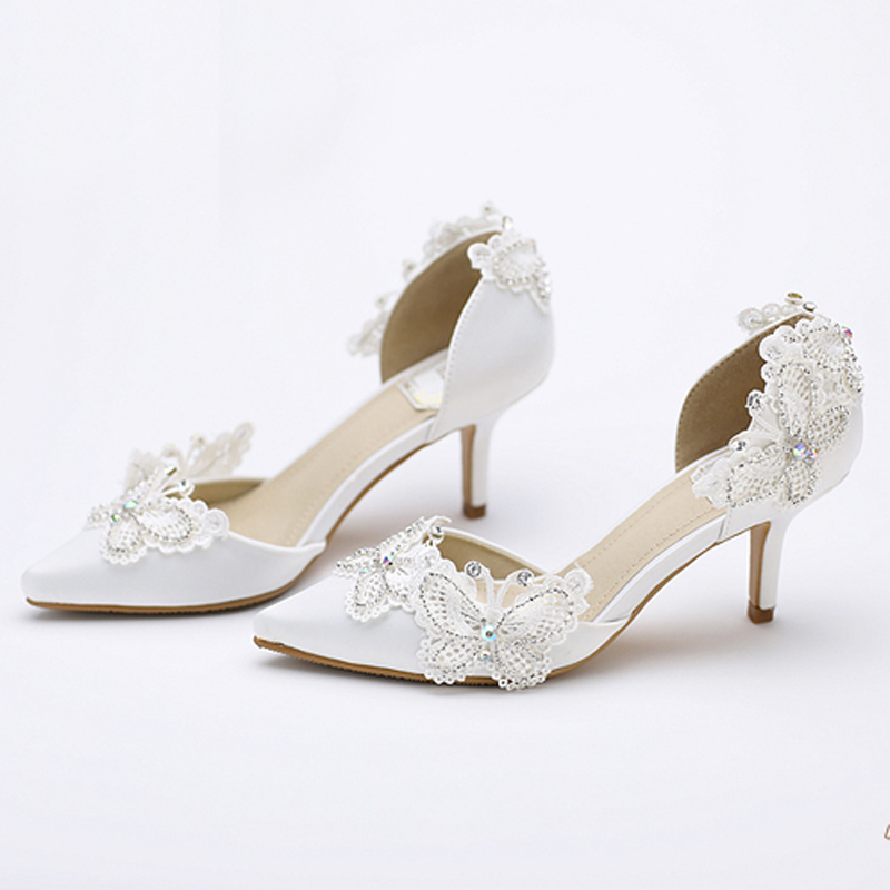 Aliexpress Buy Kitten Heel Pointed Toe Bridal Shoes Women White Satin Pumps Butterfly