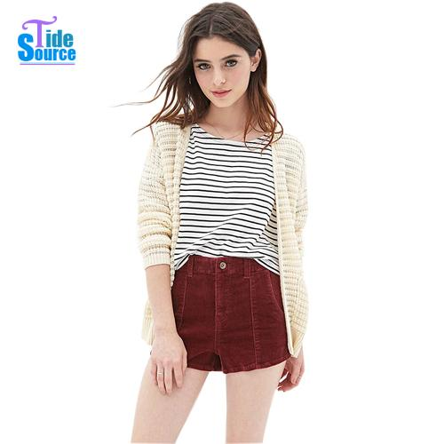 2015 New Summer Shorts Fashion High Street Elastic Slim Washing Old Vintage Thin High Waist Solid Pockets Corduroy Women Shorts(China (Mainland))