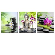 Buddha Canvas Wall Art Spa Zen Stone Canvas Print Painting Orchid Flower Home Painting Wall Decal Art Keep Peace(China (Mainland))