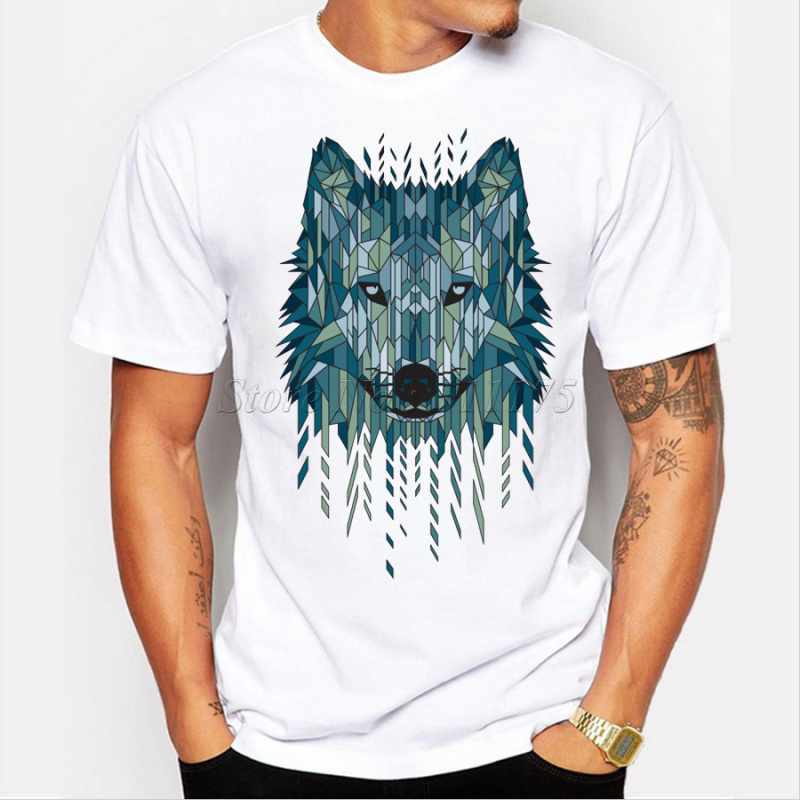 2016 New Arrival Cool Geometric Wolf Men's Fashion T shirt Popular Tops Short Sleeve Hipster Tees(China (Mainland))