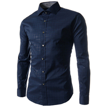 Hot Selling Spring Autumn Men High Quality Plaid/Stripe Print Dress Shirts Casual Slim Men Personality Long Sleeve Formal Shirts