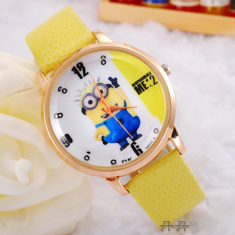 2015 Despicable Me fashion cartoon Children watch cute Small yellow people leather strap quartz wristwatches kids Christmas gift(China (Mainland))
