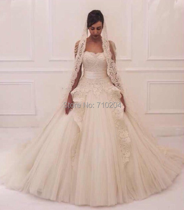 2015 Strapless Arabic Style Wedding Dress Ball Gown patterns(China (Mainland))