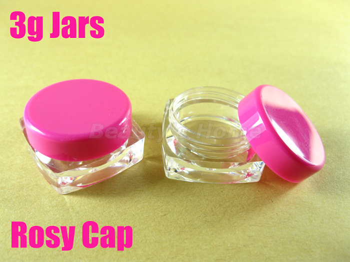 3g rosy cap square jars cosmetic cream make jar refillable bottle Empty Bottle #1955 - Packing Supplier(Bottles and Jars store)
