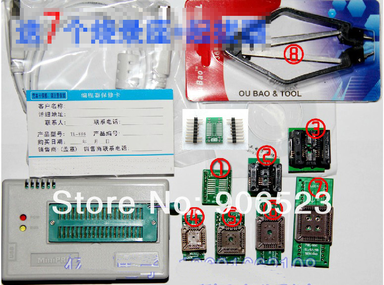 Free Shipping Russian Manual V5.91 MiniPro TL866CS USB Universal Programmer/Bios Programmer 13143+9 Adapters +IC Clamp SOIC8(China (Mainland))