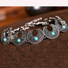 Hot Boho Collar Choker Silver Necklace statement jewelry for womenFashion Vintage Ethnic style Bohemia Turquoise Beads
