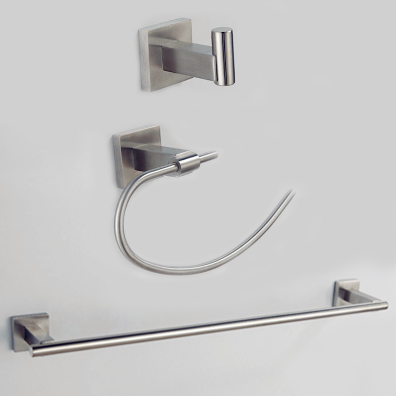 Free Shipping 304# Stainless Steel towel rack towel ring robe hook Hardware Sets stainless steel bathroom set SUS00B(China (Mainland))