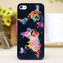 Colorful World map Design Customized transparent case cover cell mobile phone cases for Apple iphone 4 4s 5 5c 5s hard shell