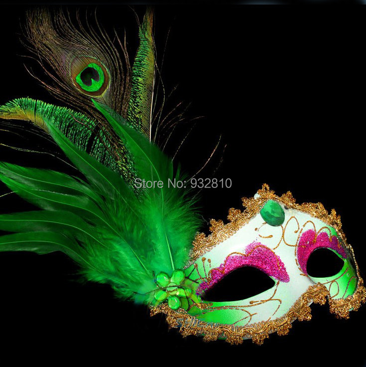 Beautiful Peacock Feather Mask Venetian Mask in Dora Games Make Up Accessories for Party 10PCS/LOT LP062(China (Mainland))