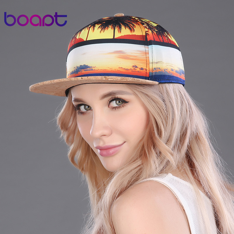 BOAPT coconut trees printing baseball cap hip hop flat hats casual women's hat snapback female 2017 new sun brand caps for men(China (Mainland))