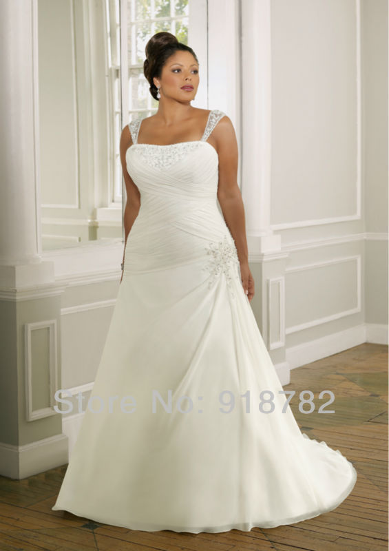 Simple style shoulder straps chiffon beaded plus size for Plain wedding dresses with straps