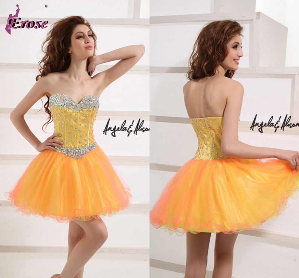 Free Shipping Short Tutu Prom Dresses Cheap Orange Party Gown With Rhinestones LPM-016(China (Mainland))