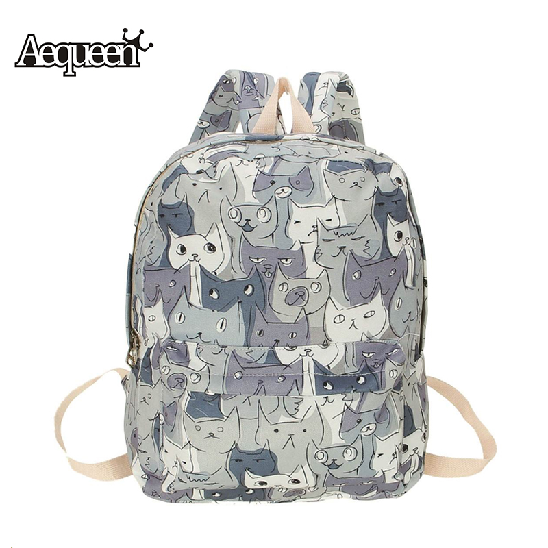 Cute Cat Canvas Backpack Women Rucksack College Preppy Style School bags for Teenagers Girls Large Capacity Shoulder Bag Pack(China (Mainland))
