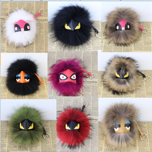 Free shipping Black leather wallet Pom Pom real fur monster doll keychain charm golf cart bag pendant strap cute Accessories(China (Mainland))