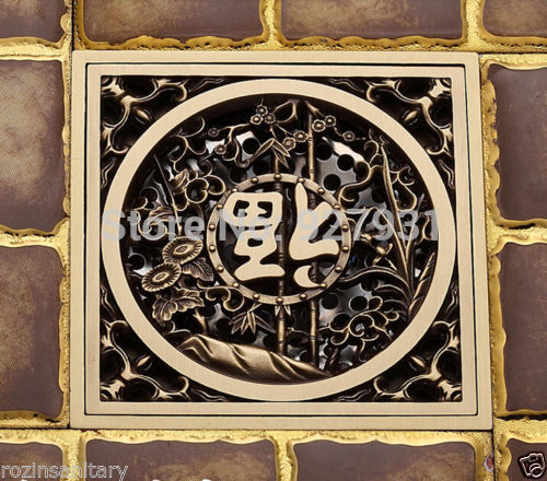 Free Shipping Wholesale and Retail Antique Brass 10cm x 10cm Square Bathroom Waste Grate Drain Cover(China (Mainland))
