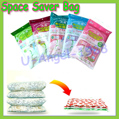 6 wire Large Space Saver Saving Storage Bag Vacuum Seal Compressed Organizer 5 Size New +register free shipping(China (Mainland))