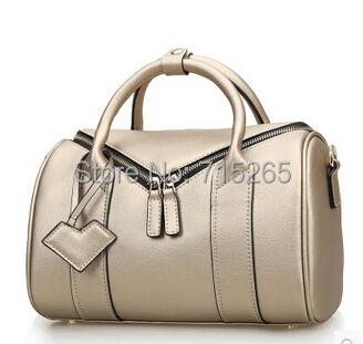 100%Genuine Leather Women Bags Casual Pillow Shape Handbag Black Blue Bronze Shoulder Bags Stylish Messenger Bag high quality(China (Mainland))