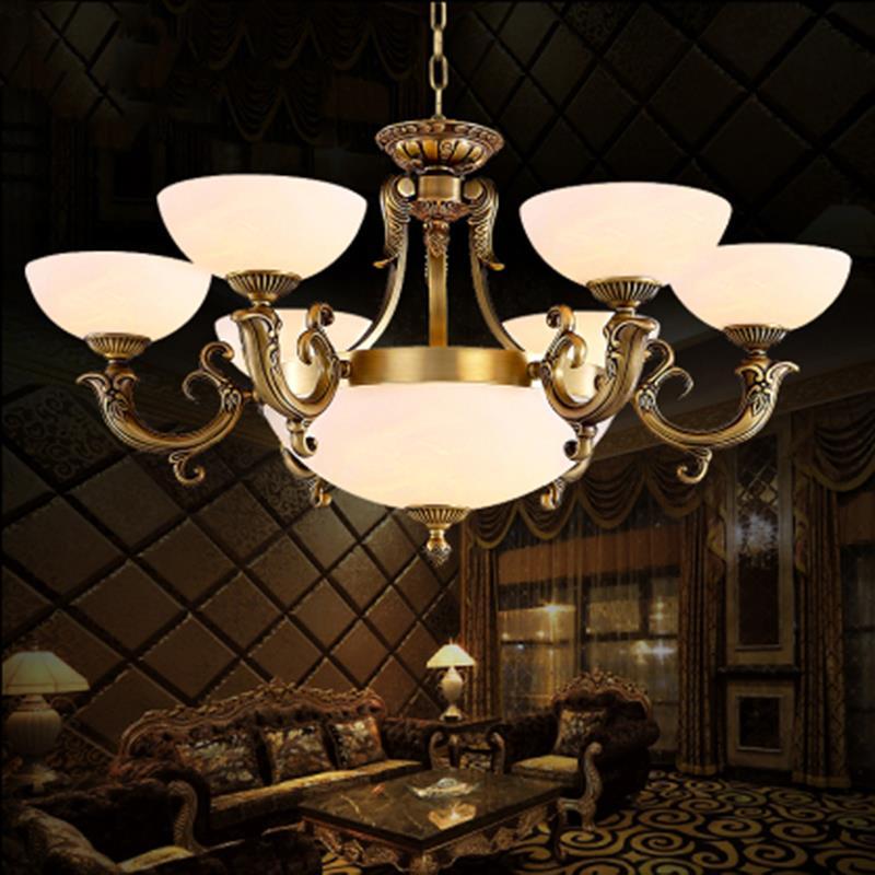 European copper chandelier simple marble living room lighting Jane art restaurant bedroom lamp(China (Mainland))