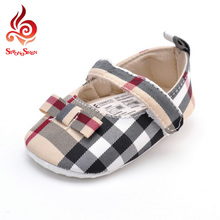 Toddler Shoes Fashion Baby Girls Shoes Cotton Gingham Bow Design Soft Sole Infant Shoes Casual Flats Kids Shoes Size1-3 1507