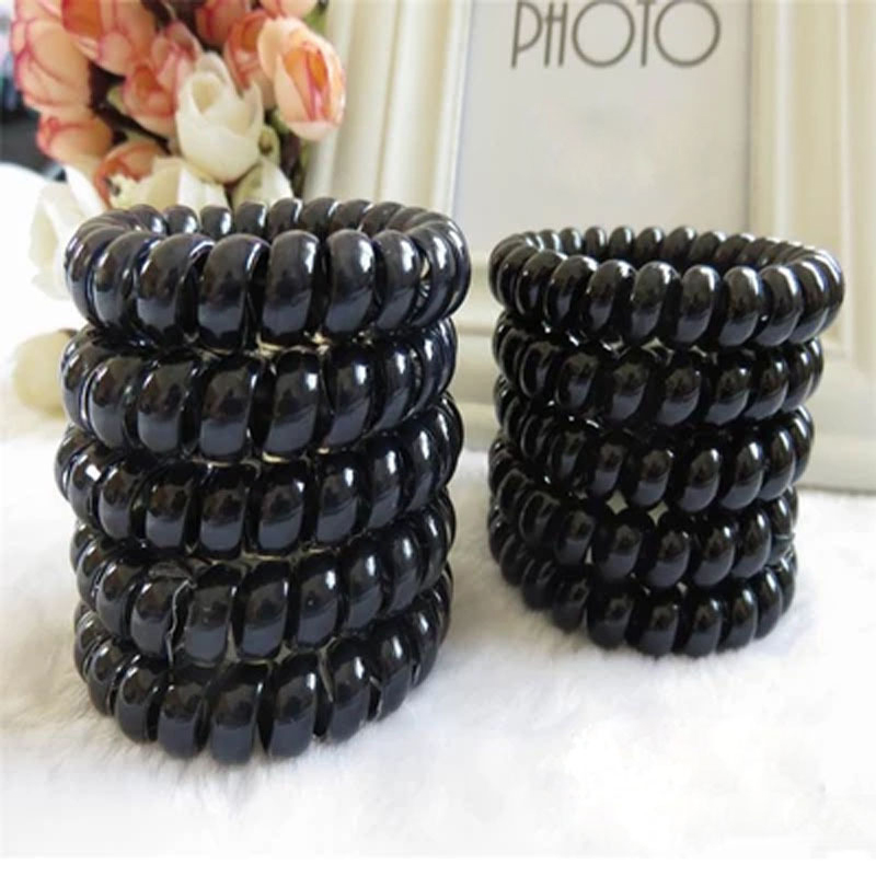 3PCS Women Elastic Hair Bands Ring Black Telephone Line Elasticity Rubber Hair Rope Hair Gum Hairband Children's Headwear Hot(China (Mainland))
