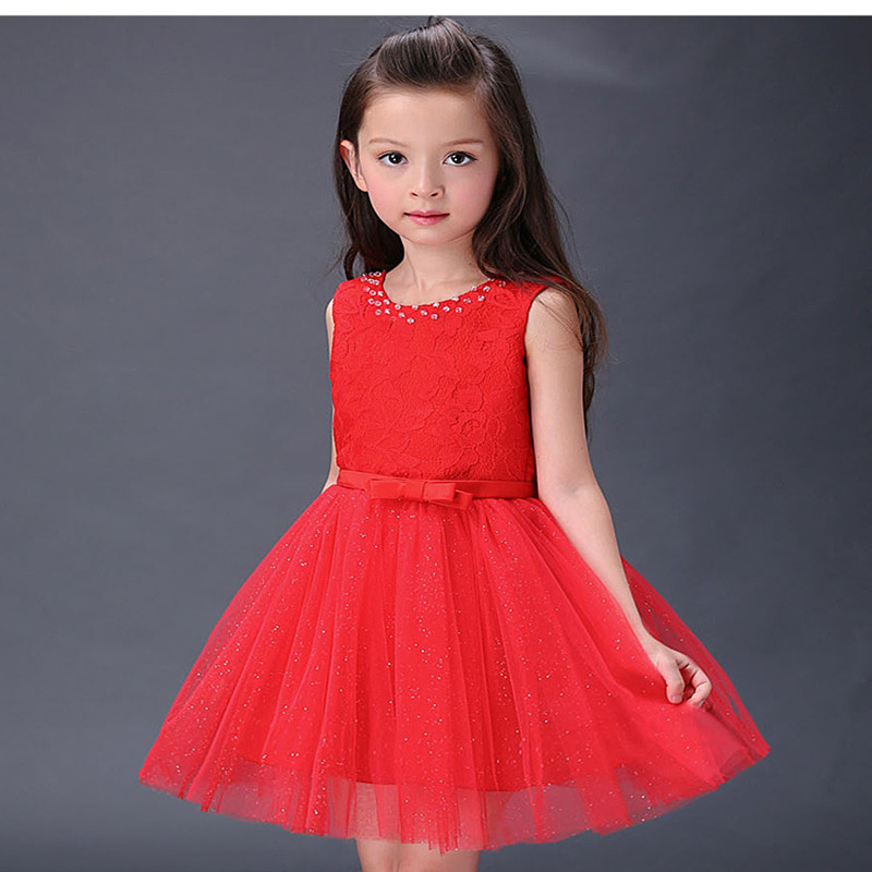 Free Shipping 2016 New Kids Girl Dress Red Children Party Dress For Summer Clothing Children Dress(China (Mainland))