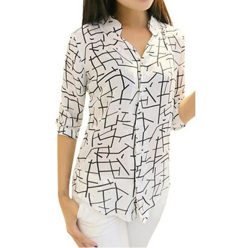 New Women S Elegant Long Sleeve Print Chiffon Fashion Stripe White