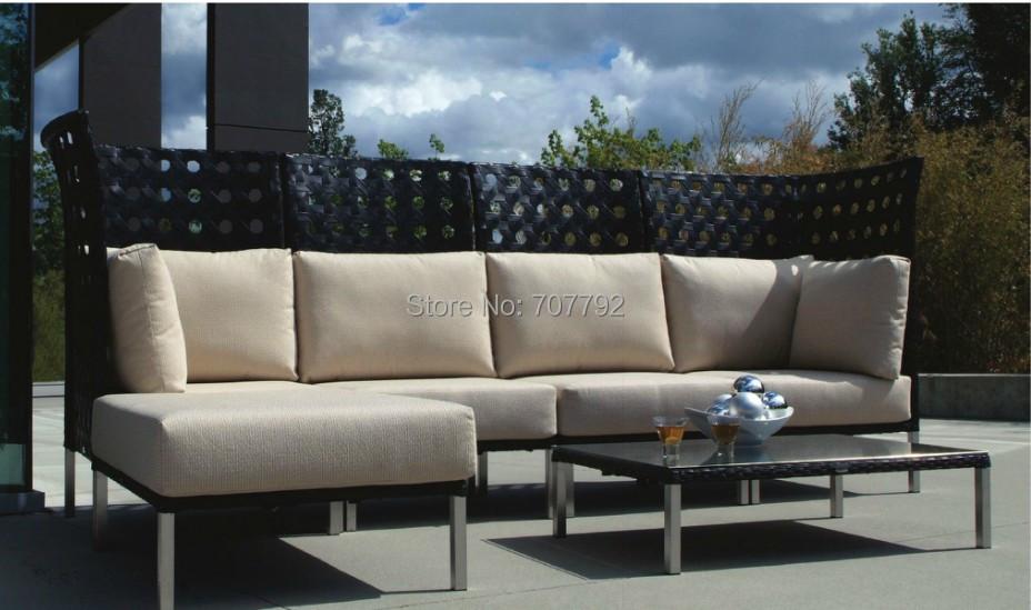 2016 Top Sale High Back Outdoor Furniture Poly Rattan 4 Seater Patio Sofa Set(China (Mainland))