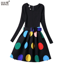 KIDS Clothes Dresses Teenager Girls Autumn Winter Print Rose Dot Pattern Dress For Kids Halloween Long Sleeve Dance Costumes(China (Mainland))