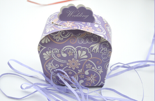 New European creative purple candy box Wedding Party Favor Creative Favor Bags Baby shower Sweet Boxes(China (Mainland))