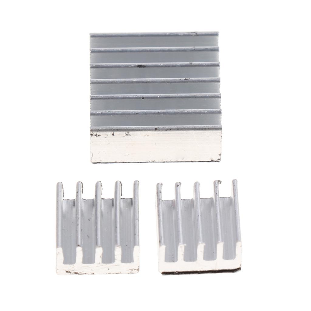 3Pcs Extruded Aluminum Heatsink For High Power LED IC Chip Cooler Radiator Heat Sink 14*14*5mm/ 8*8*5mm