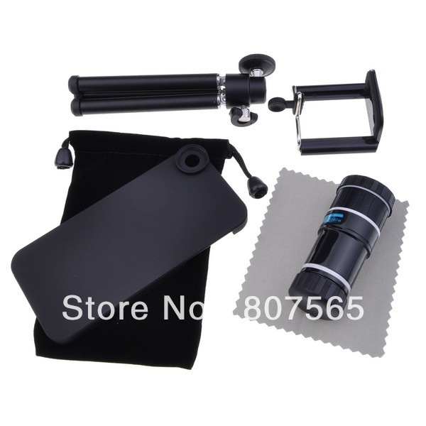 Free Shipping 12X Optical Zoom Telescope Camera Lens + Tripod + Case For iPhone 5 5G