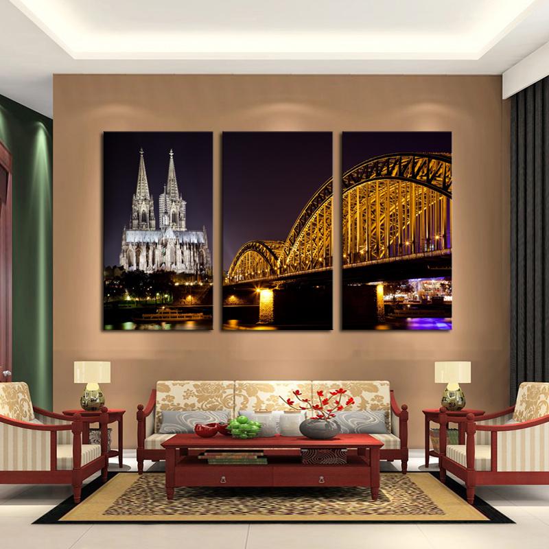 Building Bridge Canvas Print Painting Artwork Modern Home Wall Decor
