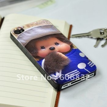 Free Shipping With Retail P45 Blue Monchichi Waterproof Hand-Painted Good Touch Bugslock Lovely Case For iPhone 4G