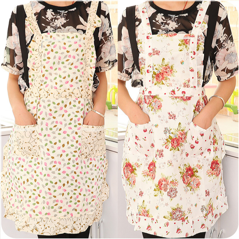 Fashion Korean Style Household Cleaning Aprons Cute Anti-dust Oilproof Antifouling Sleevess Aiguillette Apron Pinafores Kitchen(China (Mainland))