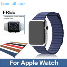 Hot Leather Loop Fashion Strap Band Metal Original Genuine Leather Milanese Watch band For Apple Watch