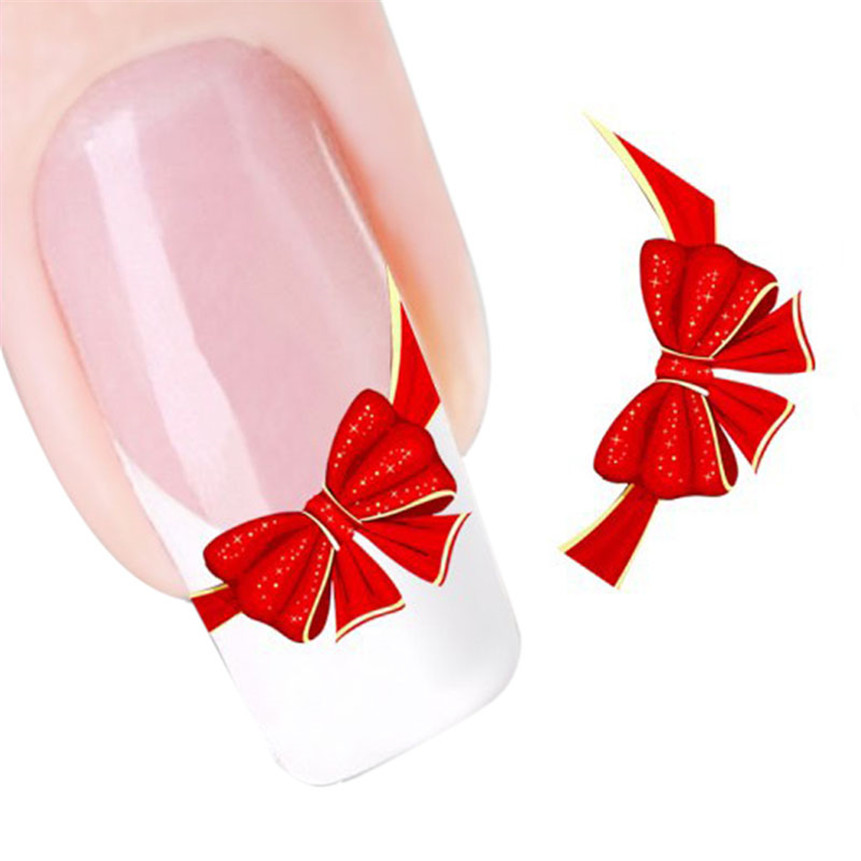 ColorWomen 1pc HOT Cute Red Bows Nail Art Tip Art Water Transfers Decal Manicure Stickers 160715(China (Mainland))