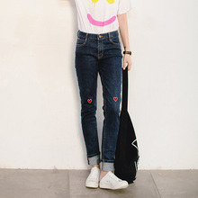 dream sky summer 2016 The new trend of self-love & Fall letter embroidery was thin stretch jeans female women's clothing
