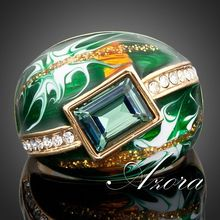 18K Real Gold Plated Green Rectangle SWA ELEMENTS Austrian Crystal Oil Painting Pattern Ring FREE SHIPPING!(Azora TR0024)
