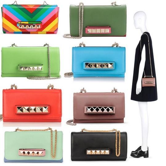 Free Luxury Brand Valentin Bag 2015 Women 100% Genuine leather Handbags Rainbow shoulder Rivet Bag Women Messenger Bags(China (Mainland))