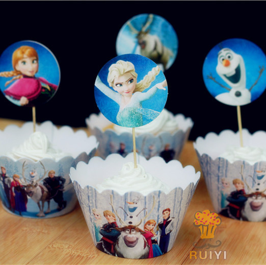 2014 new cartoon cupcake wrappers toppers picks decoration for New home cupcake decorations