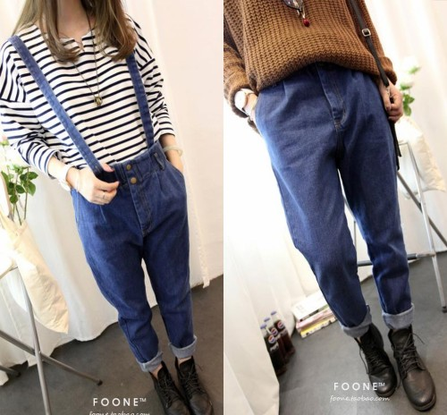 Free Shipping Women Denim Overalls Plus Size, Slim Long Jeans Female Overall Comfy Rompers For Summer/Autumn(China (Mainland))