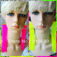Hiphop Fashion Earrings Women's Jewelry Neon Tassel Drop Earring 3CM Width Super Big 12cm 3 Colors