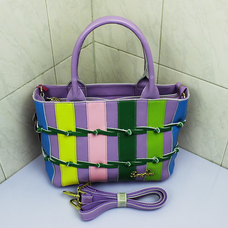 Cow Split Handbag Italian Leather Handbag Women Korean Version Zipper With Stripe Genuine Leather Violet Color Cow Split Handbag(China (Mainland))