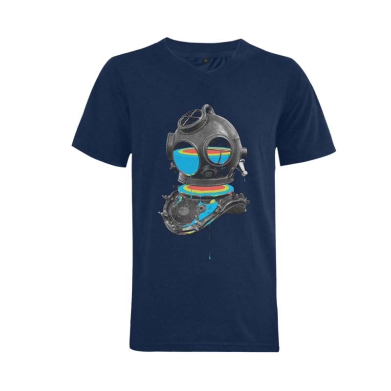 2016men's custom cotton creative and colorful print v-neck short sleeve t-shirt(China (Mainland))