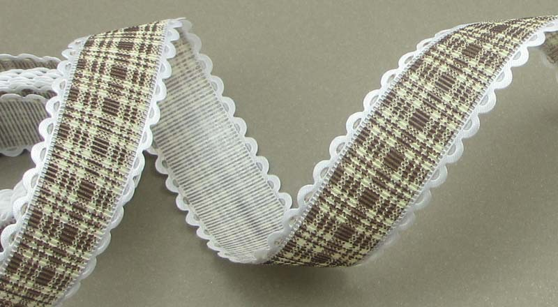 """3y/lot 1"""" 25mm Coffee Color Grosgrain Ribbon Printed Plaid Hairbows Accessory 040054037(China (Mainland))"""